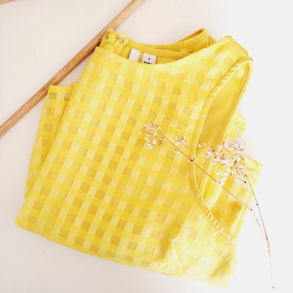 Elle Checkered Crop Top Lemon Yellow